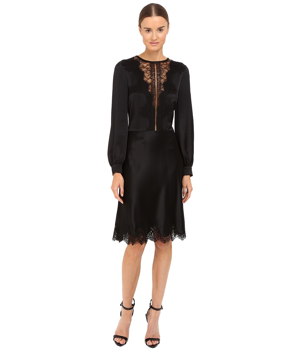 Alberta Ferretti Long Sleeve Sheer Lace Neckline Dress (Black) Women