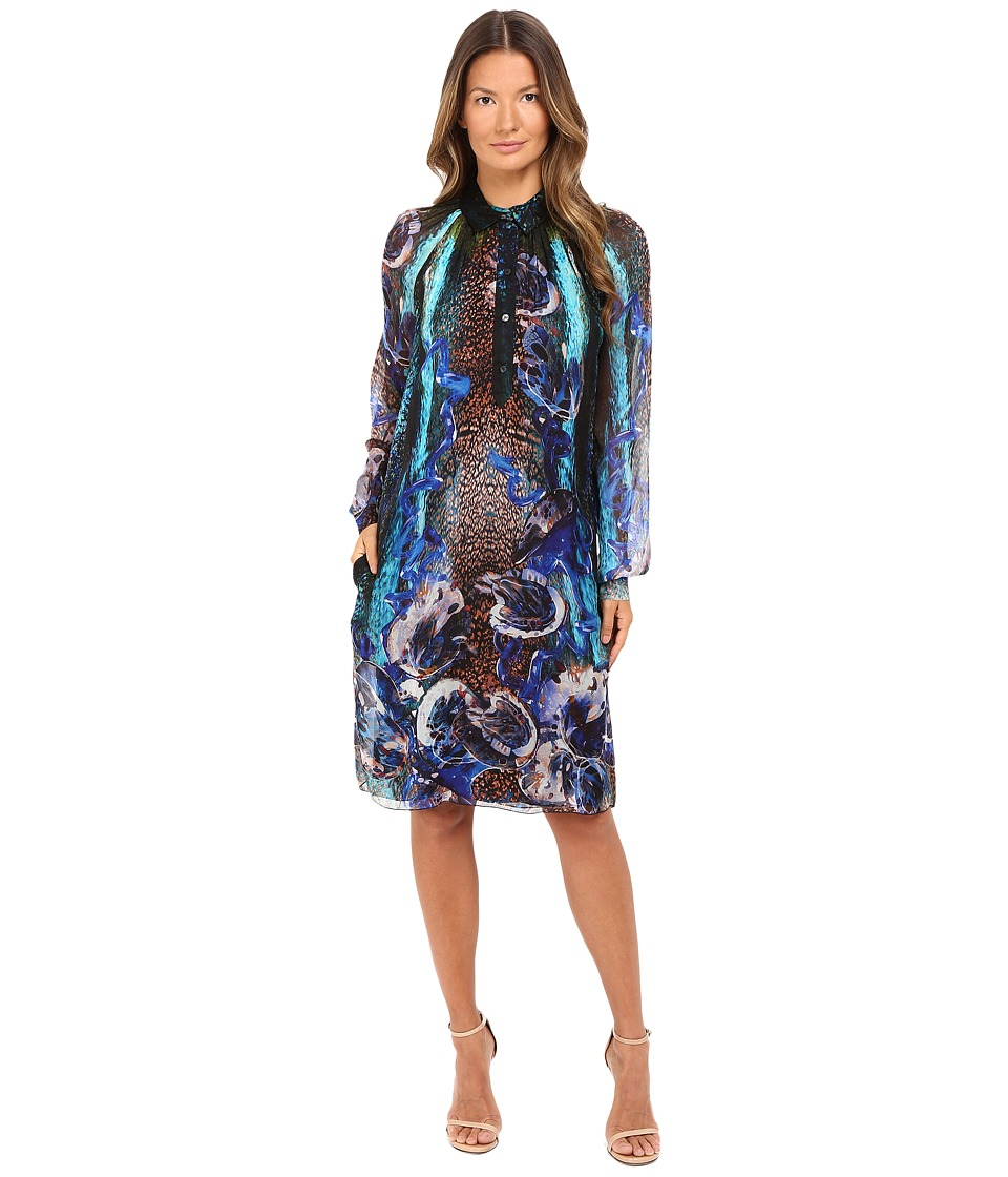 Alberta Ferretti - Long Sleeve Sheer Floral Dress (Blue) Women's Dress