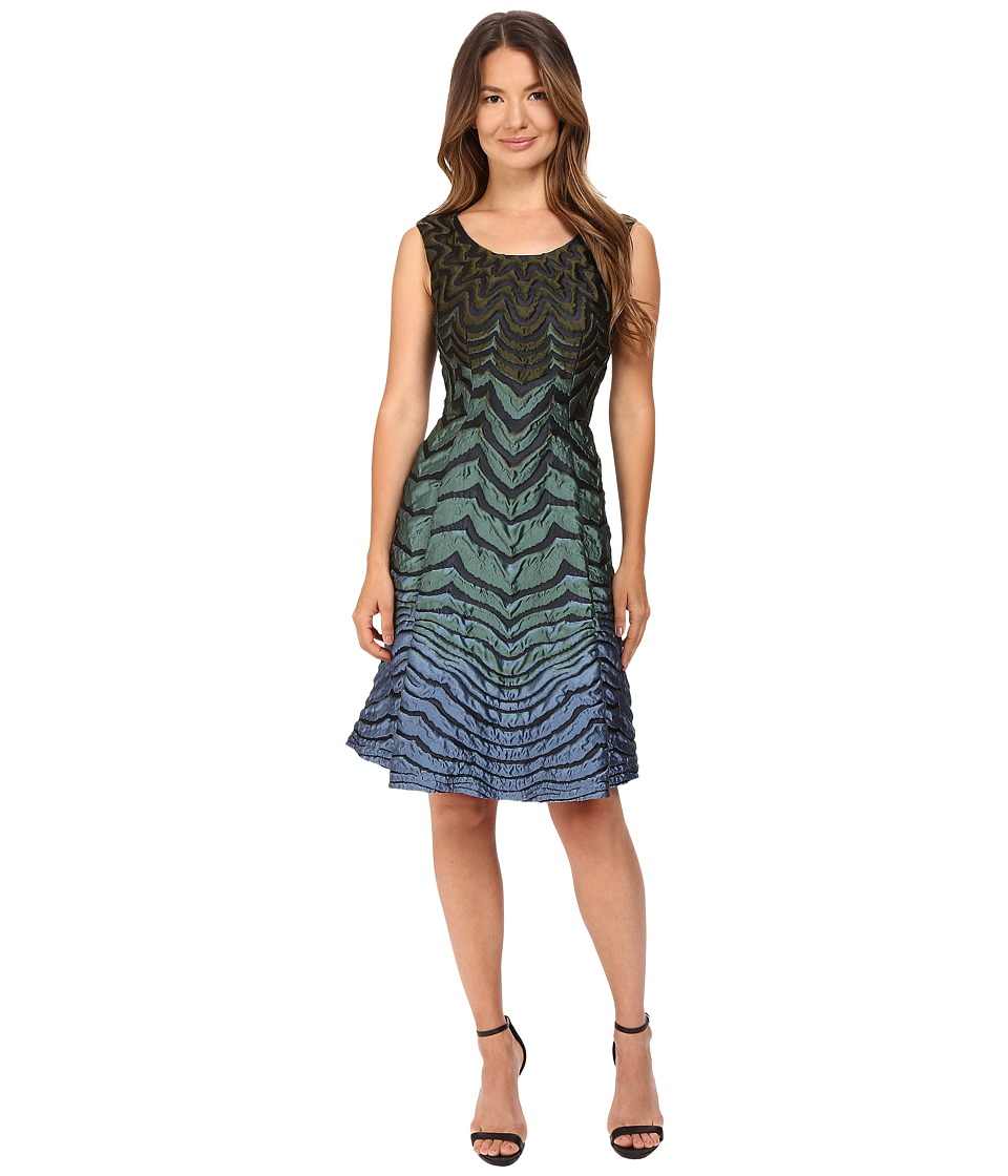 Alberta Ferretti Sleeveless Zigzag Dress (Teal Multi) Women