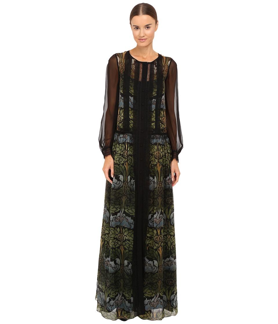 Alberta Ferretti - Long Sleeve Sheer Overlay Printed Maxi Dress (Green) Women's Dress