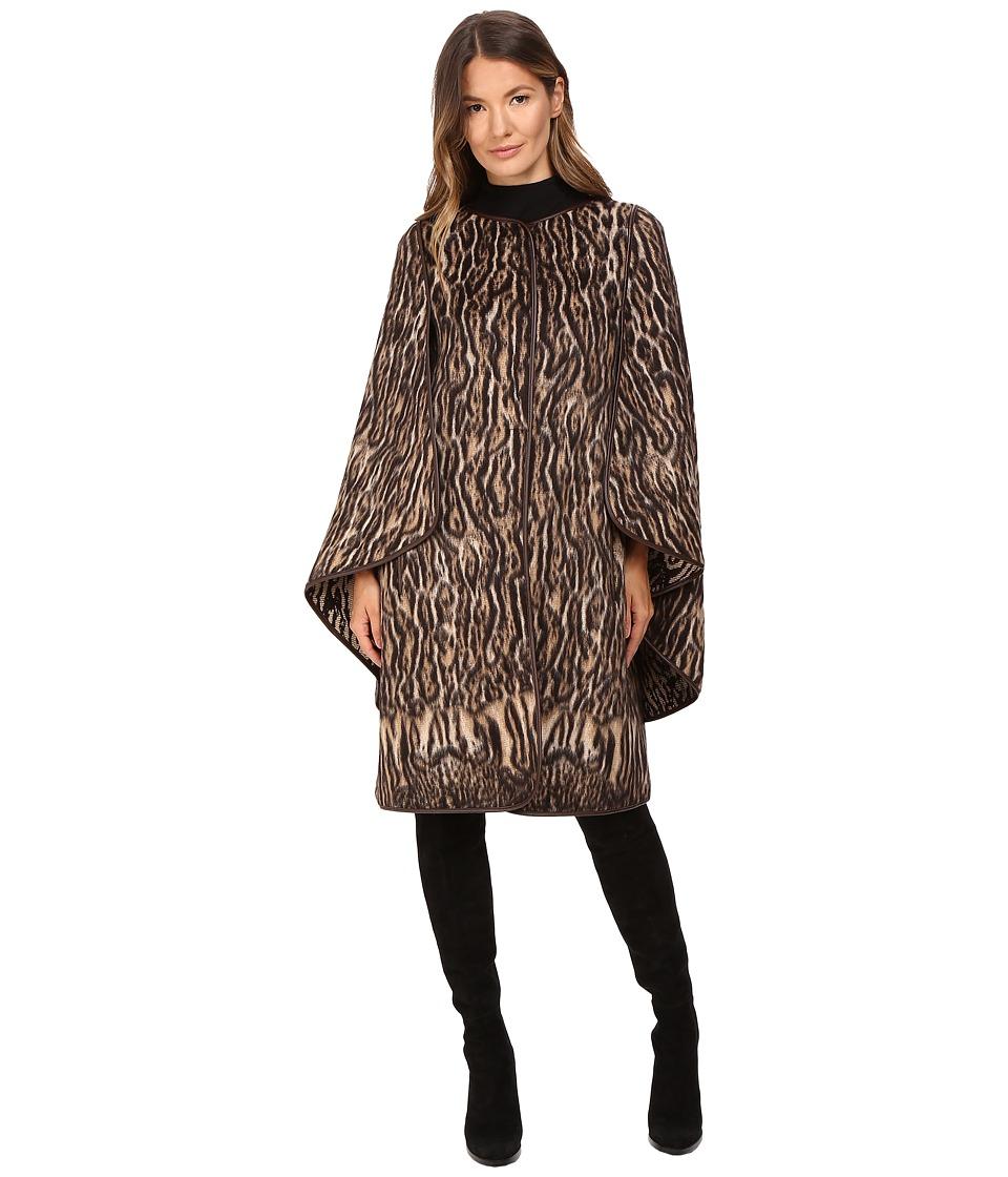 Alberta Ferretti - Leopard Cape Sleeve Open Front Jacket (Camel) Women's Coat
