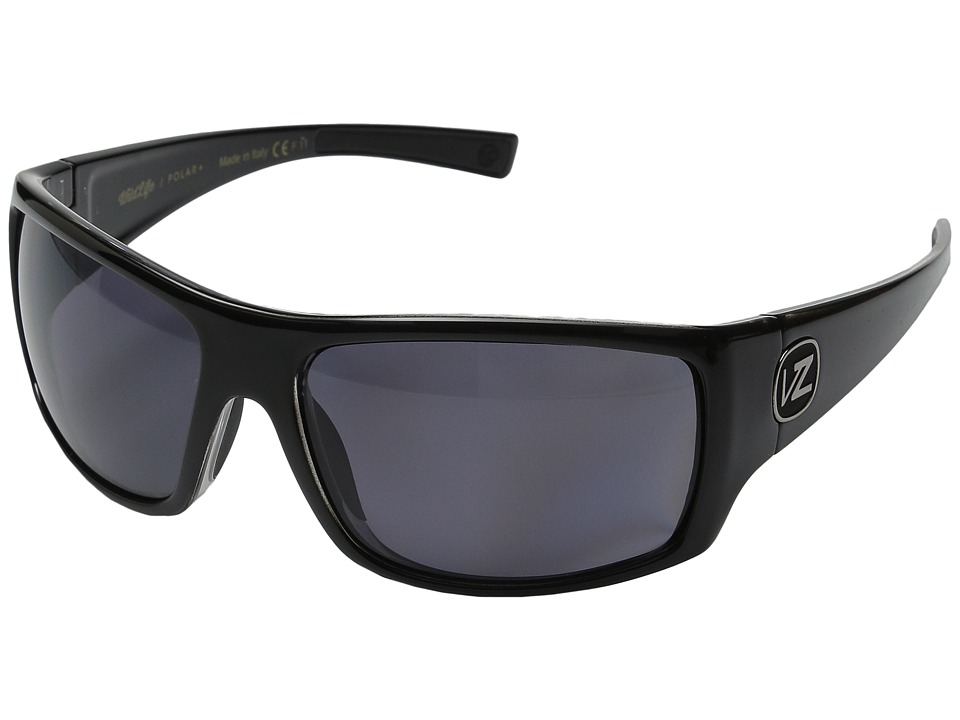 VonZipper - Suplex Polarized (Black Crystal/Wildlife Vintage Grey Polarized Lens) Plastic Frame Sport Sunglasses