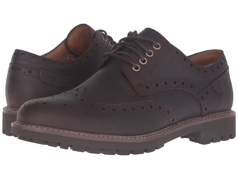 Clarks - Montacute Wing (Chestnut Interest Leather) Men's Lace Up Wing Tip Shoes
