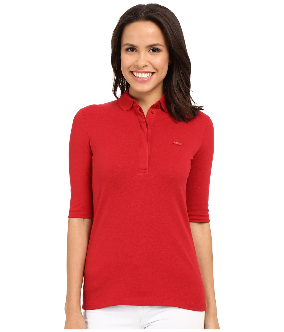 Lacoste - Half Sleeve Slim Fit Stretch Pique Polo Shirt (Lighthouse Red) Women's Short Sleeve Knit