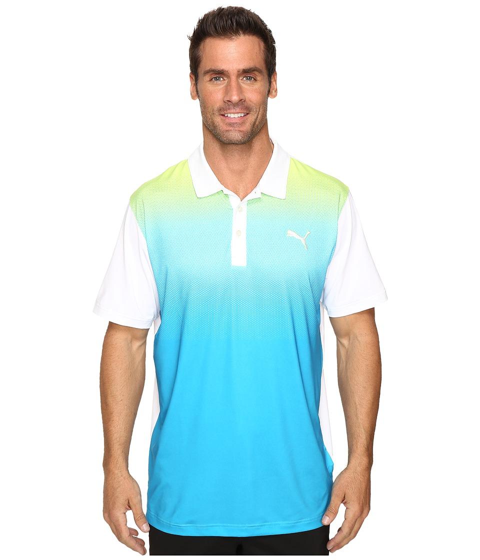 PUMA Golf - GT Glow Polo (Bright White/Hawaiian Ocean) Men's Clothing