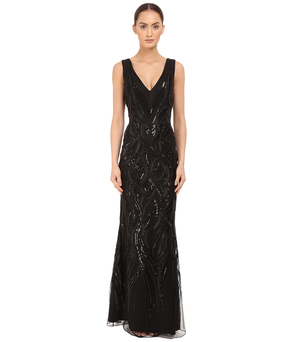 Marchesa Notte - Sleeveless V-Neck Gown with Sequin and Ribbon Embroidery (Black) Women's Dress