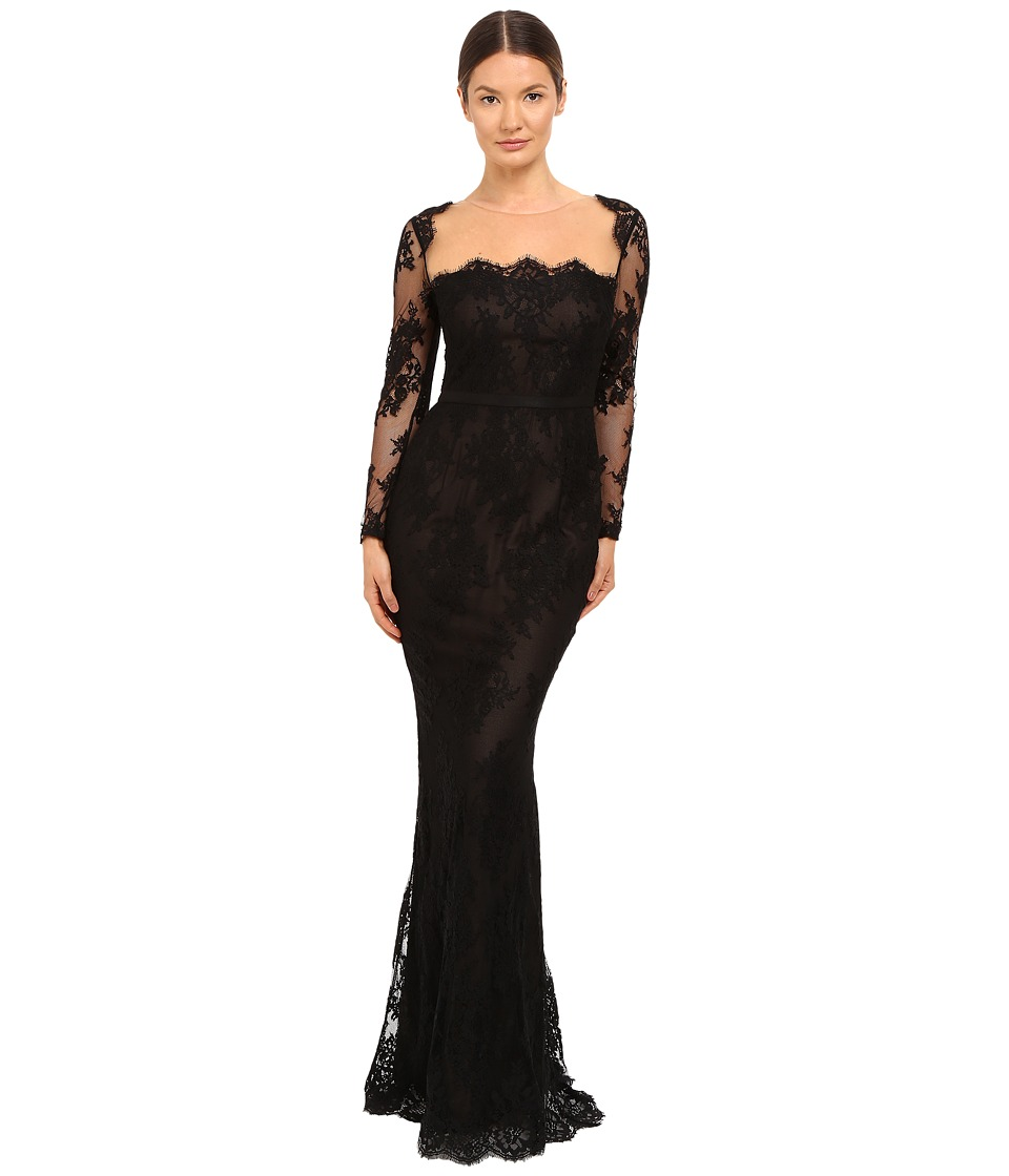 Marchesa Notte Long Sleeve Lace Gown with Illusion Neckline (Black) Women