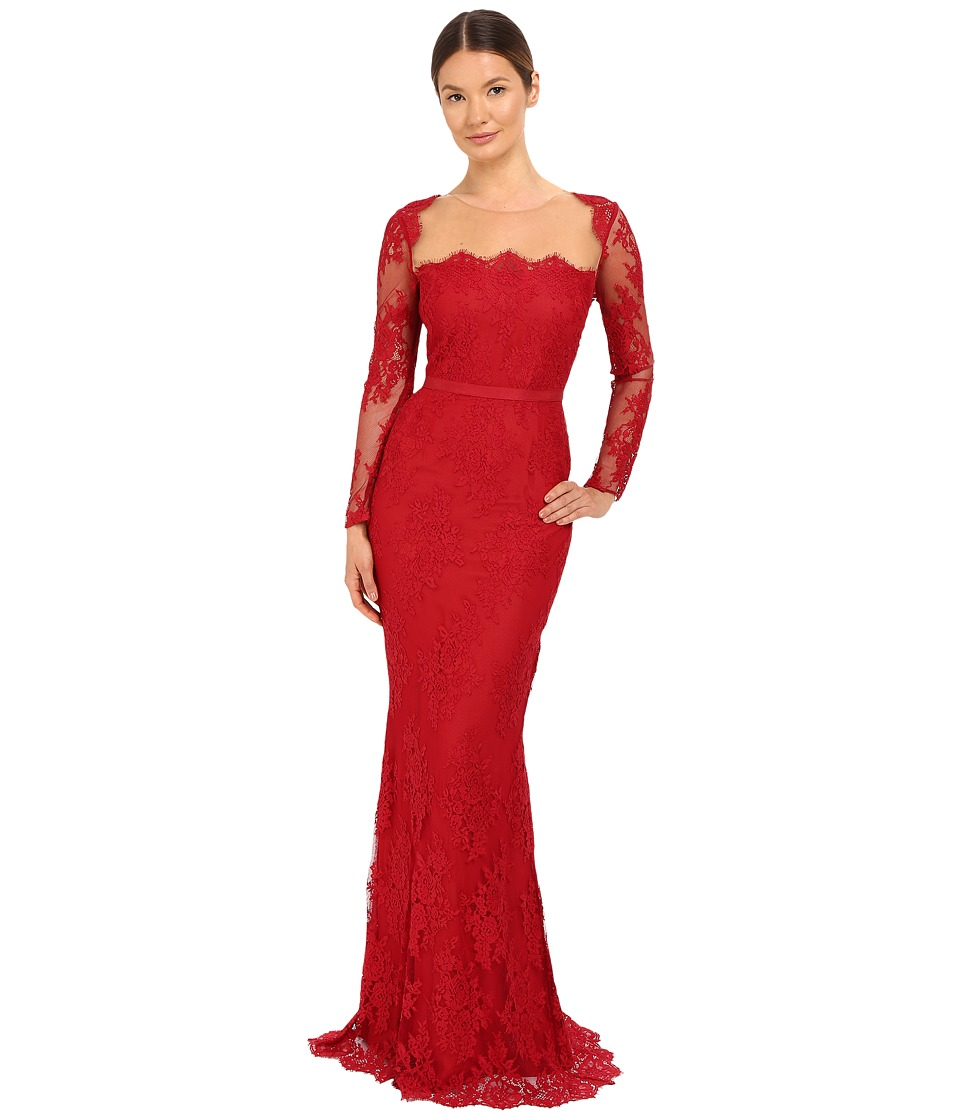 Marchesa Notte - Long Sleeve Lace Gown with Illusion Neckline (Red) Women's Dress
