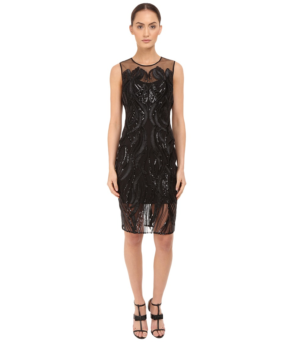 Marchesa Notte Sleeveless Cocktail with Sequin and Ribbon Embroidery (Black) Women