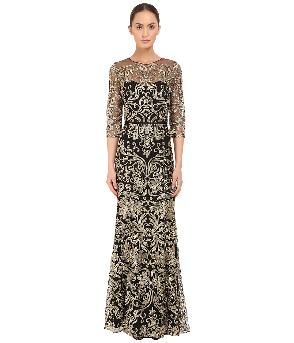 Marchesa Notte - Fully Embroidered Gown with Long Sleeves and High Neckline (Black) Women's Dress