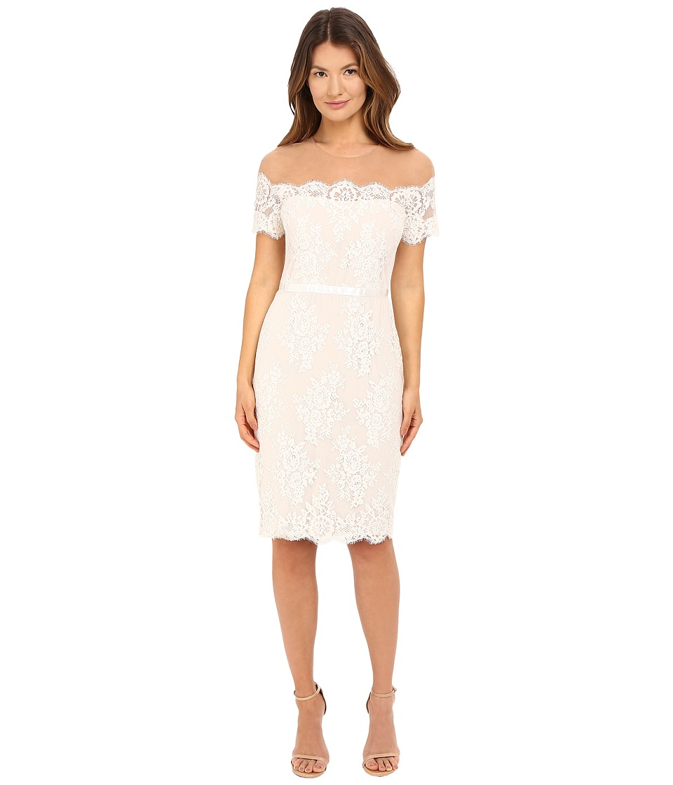 Marchesa Notte - Short Sleeve Lace Cocktail with Beaded Illusion Neckline (Ivory) Women's Dress