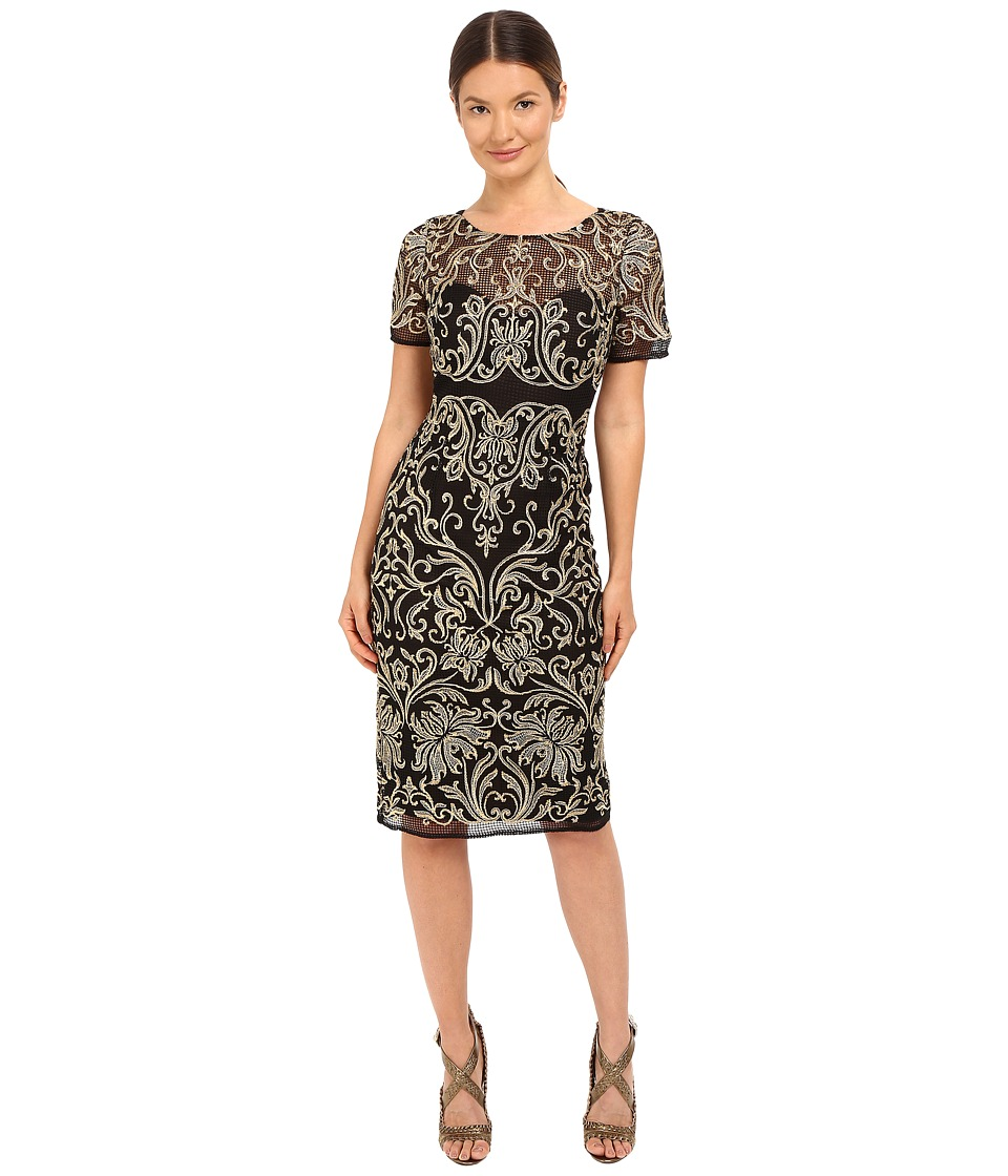 Marchesa Notte Floral Embroidered Cocktail with Sheer Illusion Panel (Black) Women