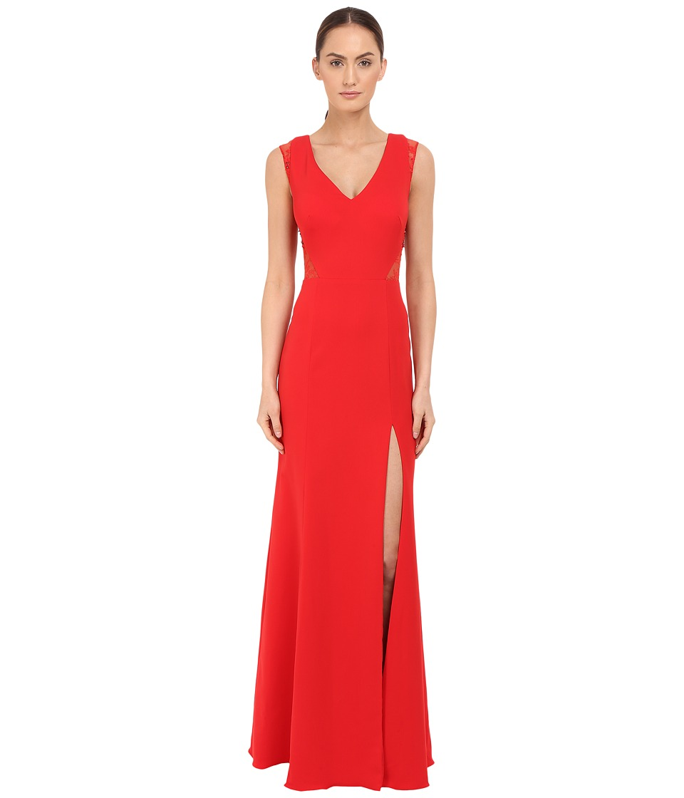 Marchesa Notte - Sleeveless Crepe Gown with Slit and Illusion Re-Embroidered Lace Cut Outs (Red) Women's Dress