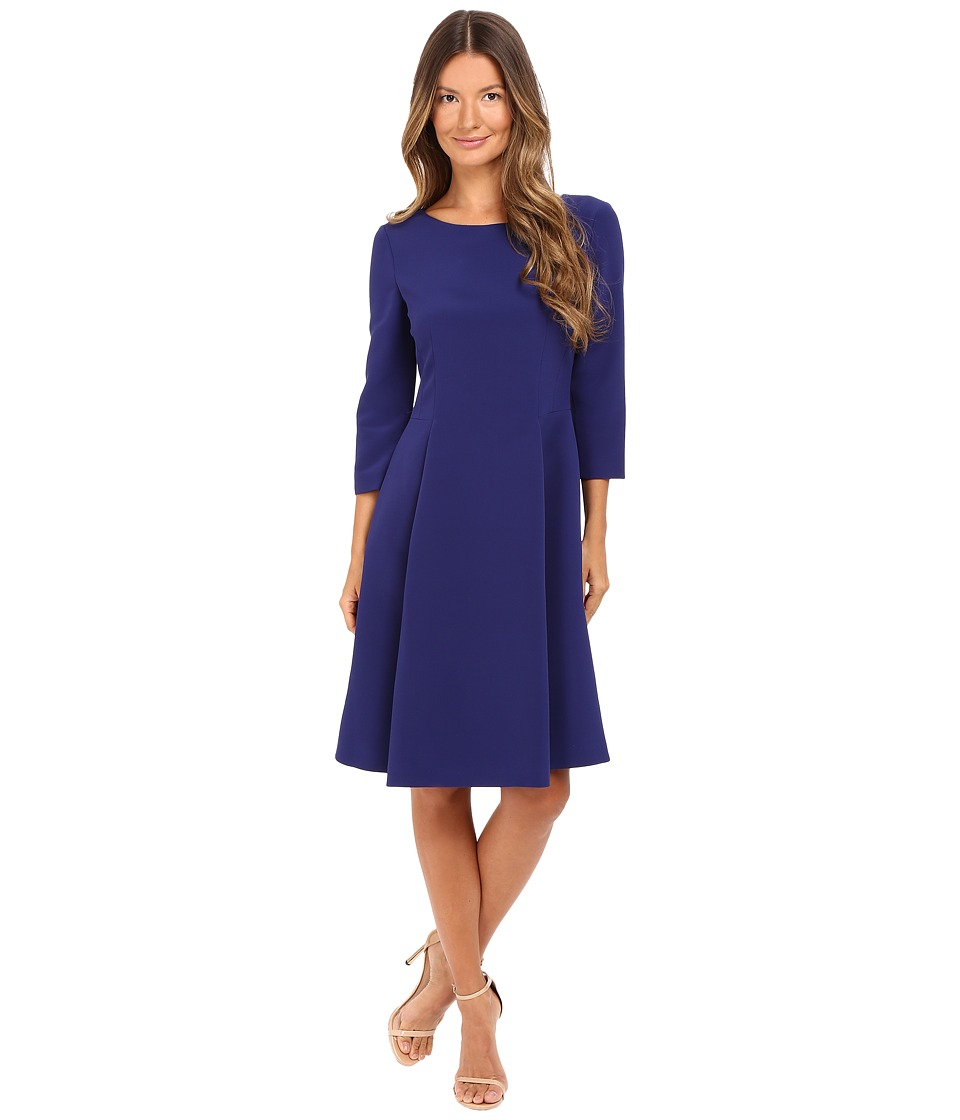 Alberta Ferretti 3/4 Sleeve Boat Neck Pleated Dress (Deep Blue) Women