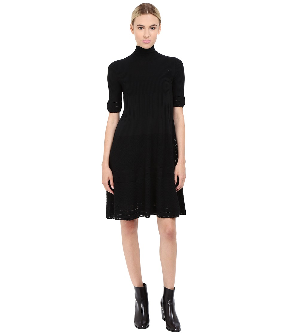Alberta Ferretti Mock Neck Short Sleeve Dress (Black) Women