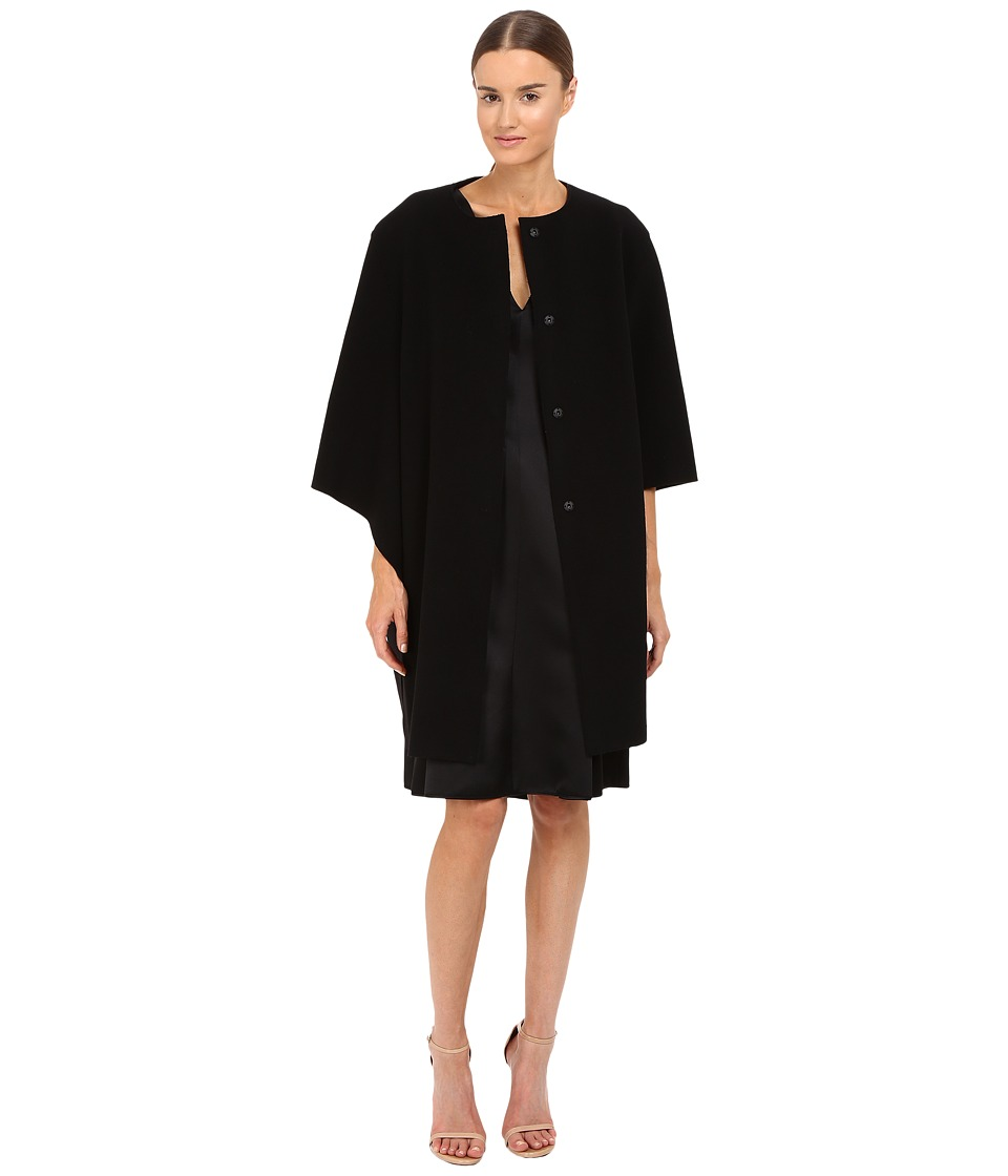 Alberta Ferretti - Dolman Sleeve Open Front Jacket (Black) Women's Coat
