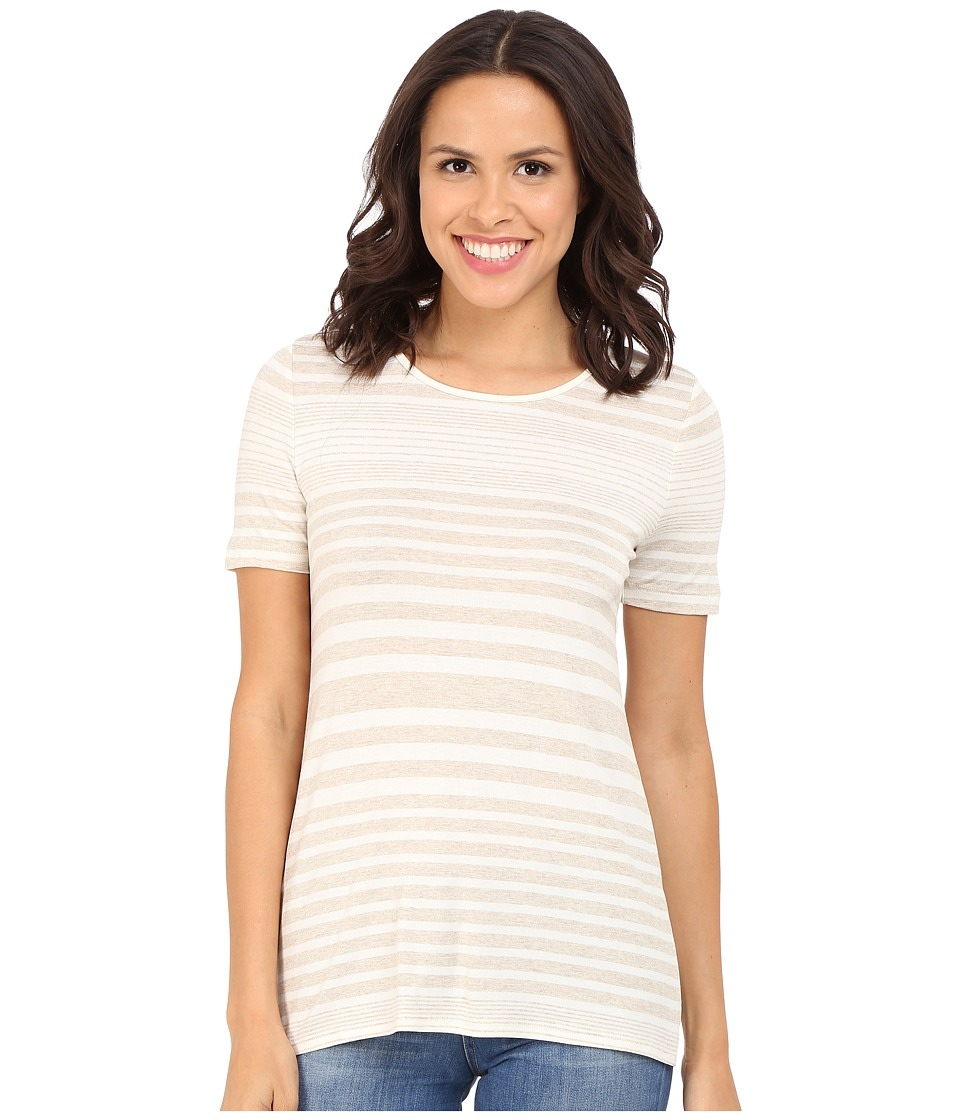 Three Dots - Kameko Rolled Sleeve Tee (Natural) Women's T Shirt