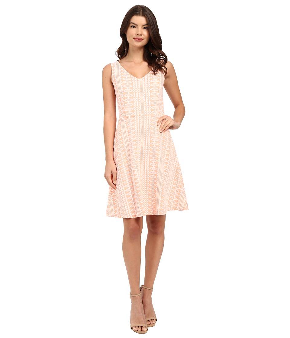 Three Dots Annabeth Fit Flare Dress (Coral Cream) Women