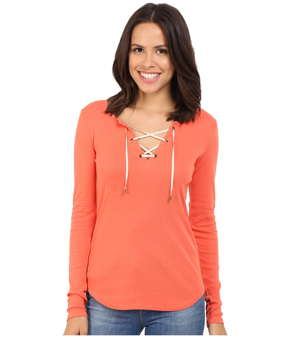 Three Dots - Bettina Long Sleeve Lace Up Top (Emberglow) Women's Long Sleeve Pullover
