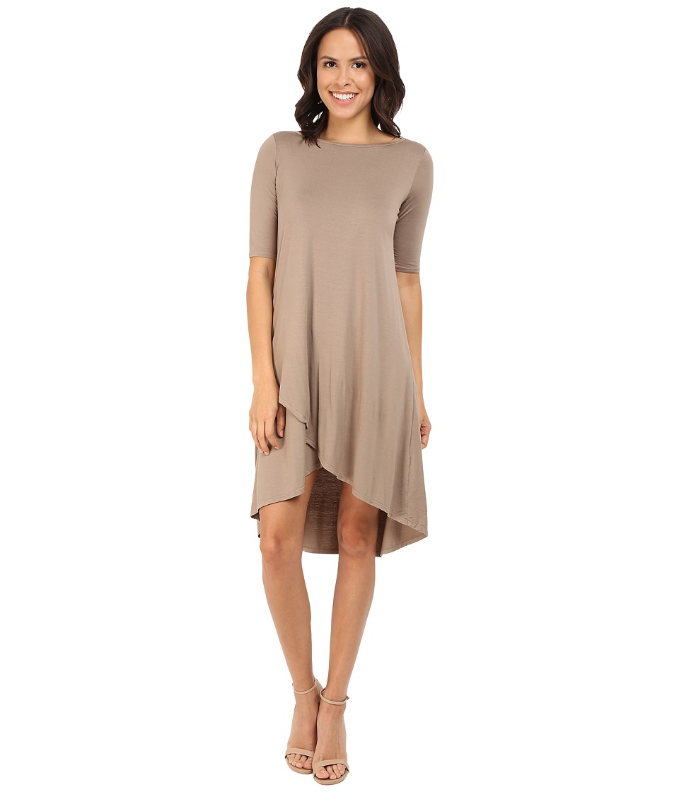 Three Dots Olya A 3/4 Sleeve High-Low Dress (Dusky Taupe) Women