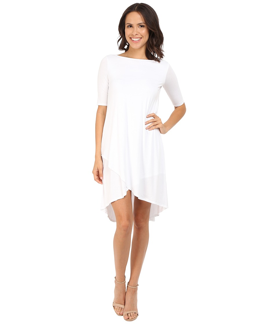 Three Dots Olya A 3/4 Sleeve High-Low Dress (White) Women