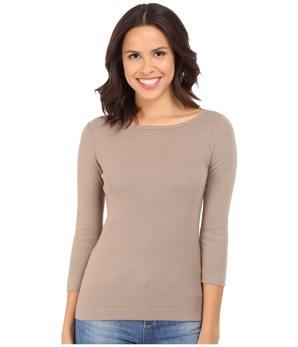 Three Dots - 3/4 Sleeve British Tee (Dusky Taupe) Women's Long Sleeve Pullover