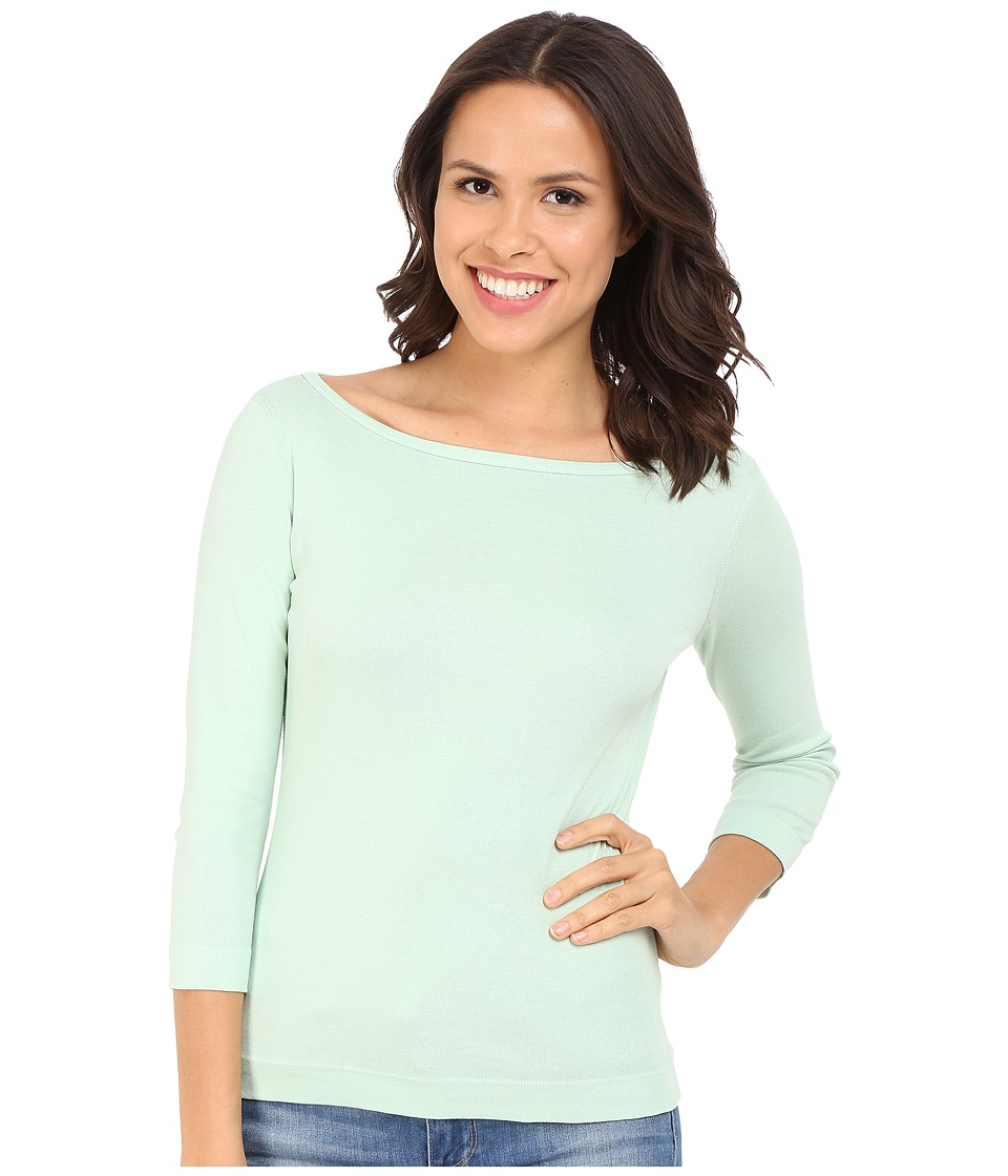 Three Dots - 3/4 Sleeve British Tee (Sea Mist) Women's Long Sleeve Pullover