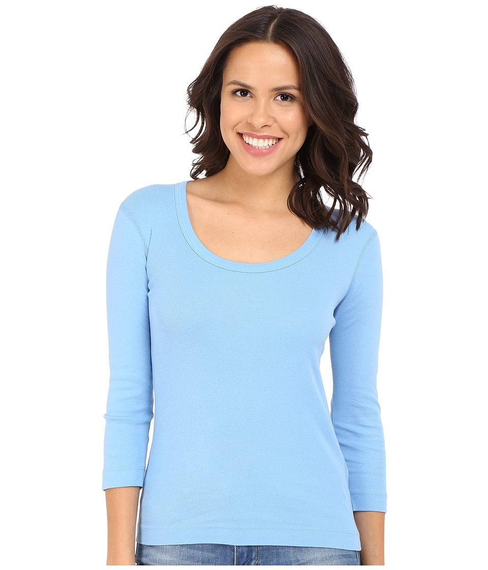 Three Dots 3/4 Sleeve Scoop Neck (Marina Sky) Women