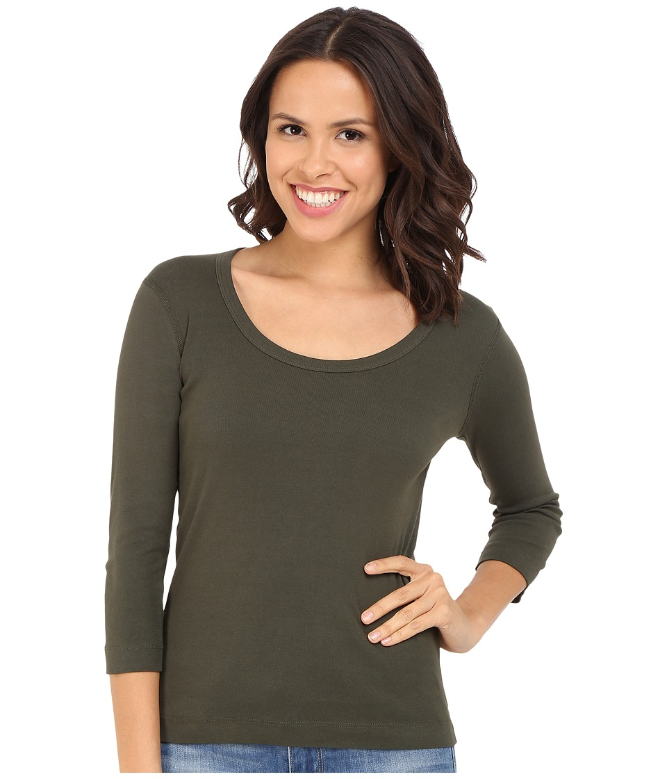 Three Dots 3/4 Sleeve Scoop Neck (Sweet Fern) Women