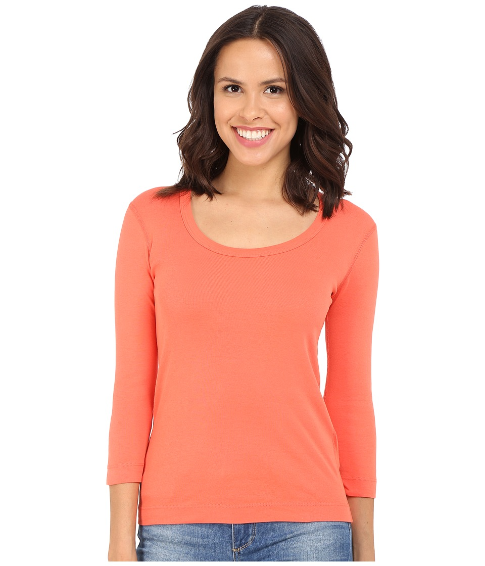 Three Dots - 3/4 Sleeve Scoop Neck (Emberglow) Women's Long Sleeve Pullover