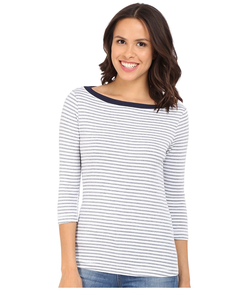 Three Dots - Anne 3/4 Sleeve British Tee (White/Navy) Women's Long Sleeve Pullover