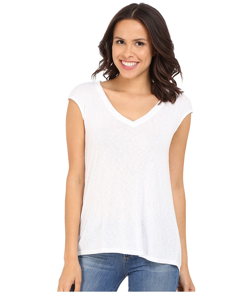 Three Dots - Hila V-Neck (White) Women's Short Sleeve Pullover