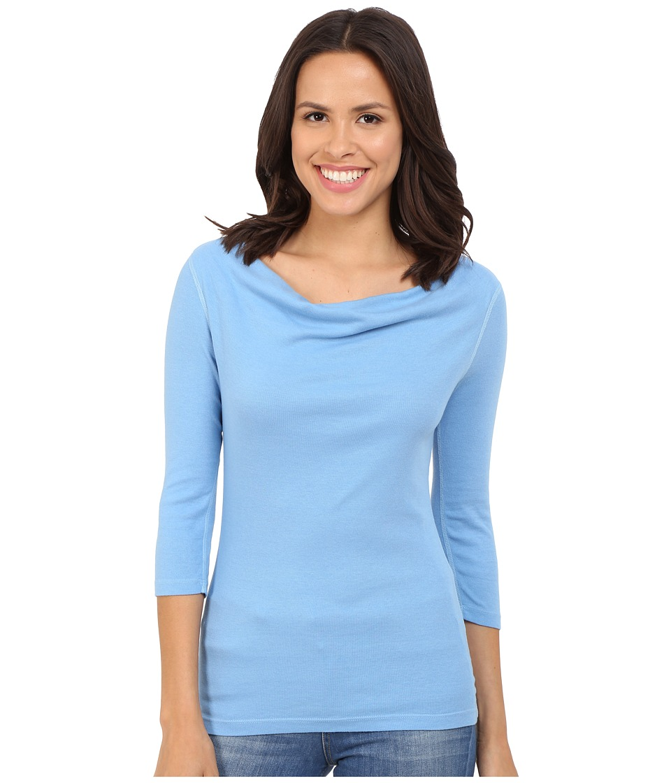 Three Dots - 3/4 Sleeve Cowl Neck Top (Marina Sky) Women's T Shirt