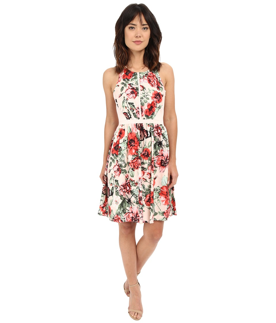 Adrianna Papell - Flower Print Sleeveless Crossback Dress (Pink Multi) Women's Dress