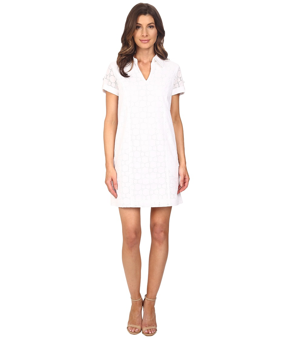 Adrianna Papell - Capri Eyelet Shirtdress (White) Women's Dress