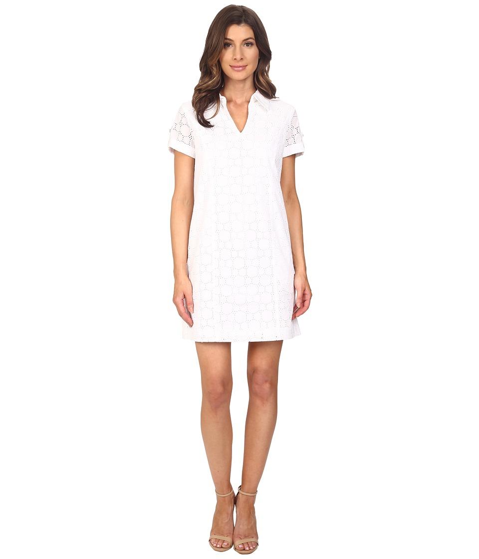 Adrianna Papell - Capri Eyelet Shirtdress (White) Women's Dress