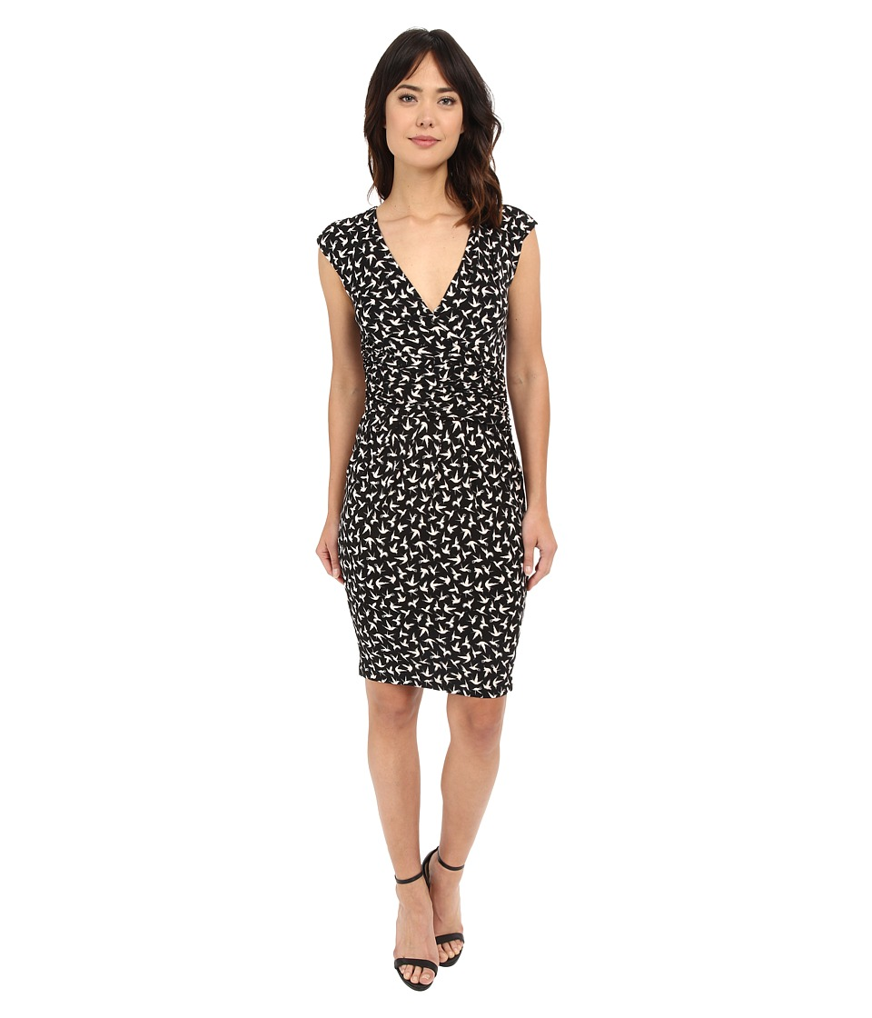 Adrianna Papell - Print Extended Shoulder Bird Jersey Dress (Black) Women's Dress