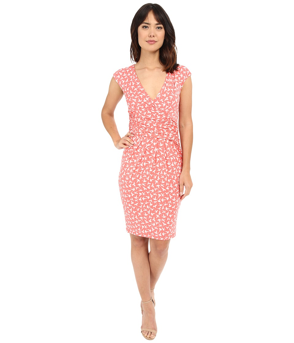 Adrianna Papell - Print Extended Shoulder Bird Jersey Dress (Light Coral) Women's Dress