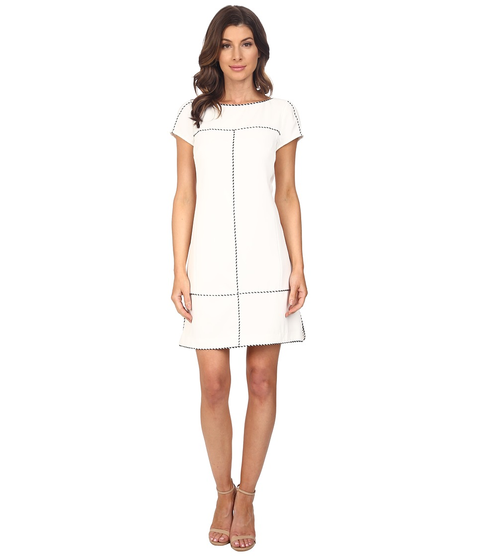 Adrianna Papell - Stitch Detail Sheath Dress (Ivory/Black) Women's Dress