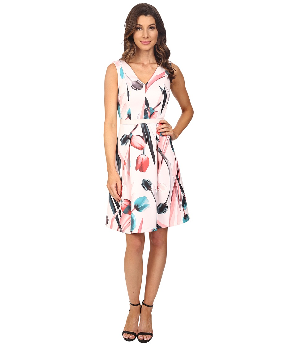 Adrianna Papell - Printed Scuba Abstract Floral Fit Flare Dress (Pink Multi) Women's Dress