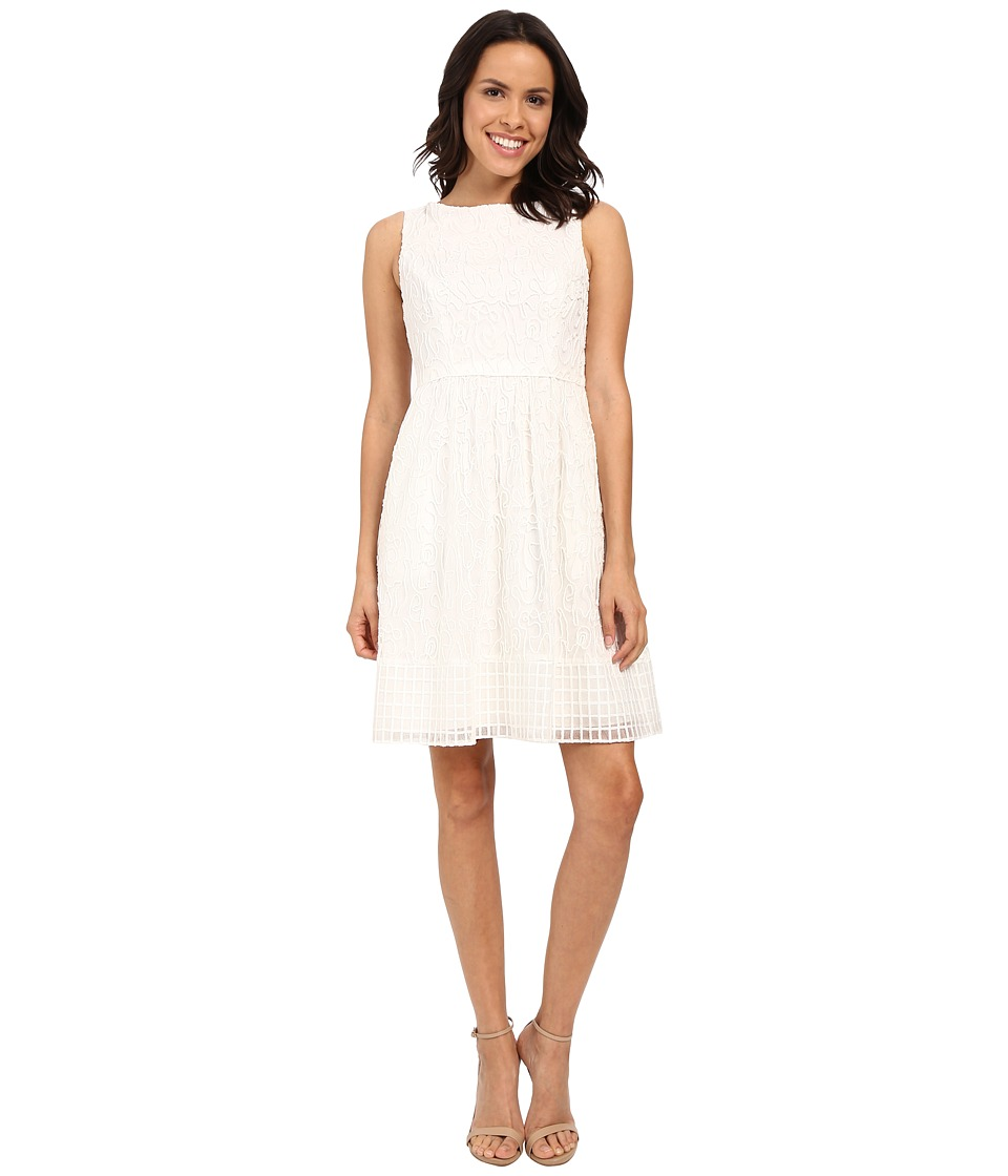 Adrianna Papell - Embroidered Soutache Fit Flare Dress w/ Grid Hem (Ivory) Women's Dress