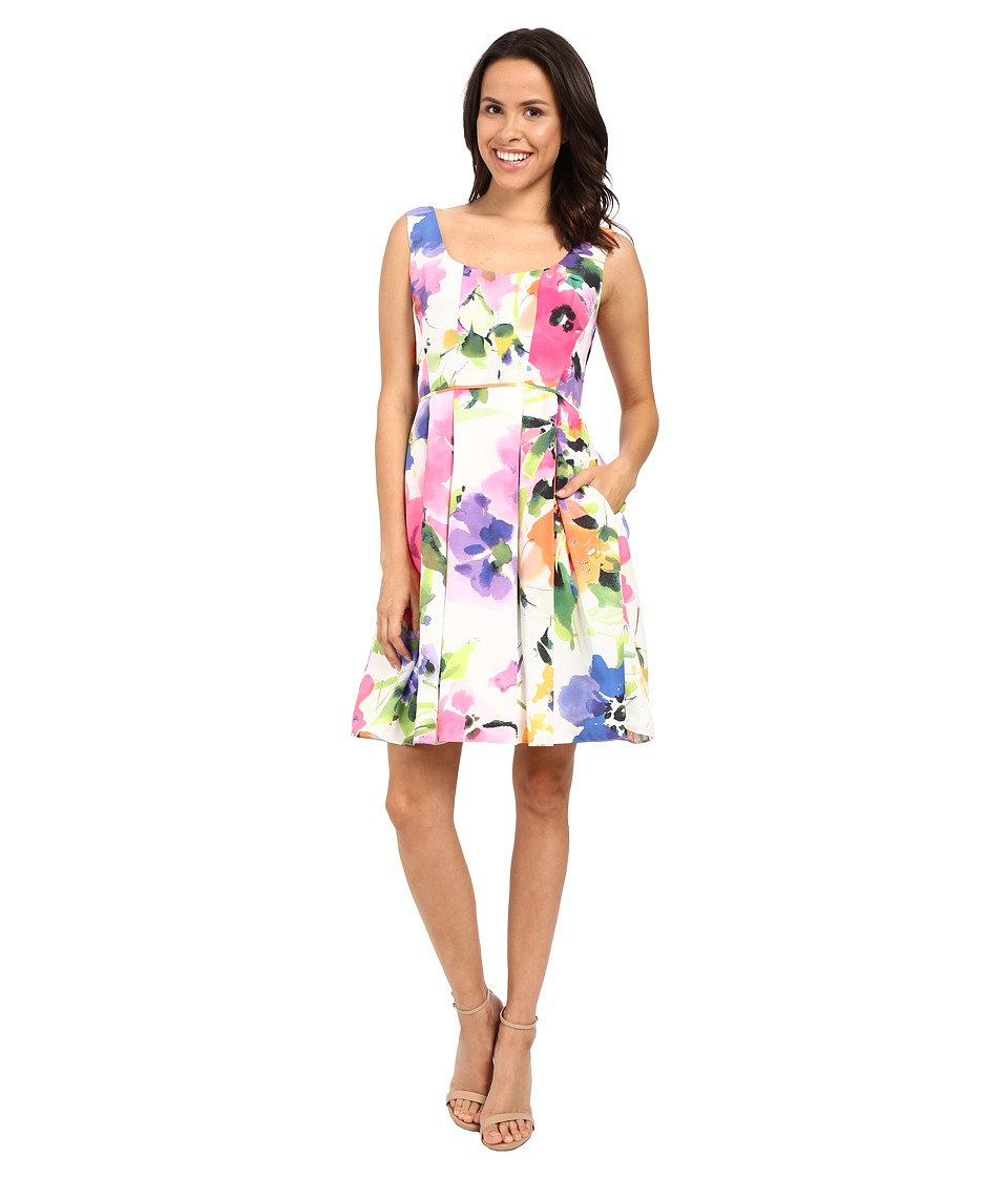 Adrianna Papell - Fit Flare Floral w/ Pleated Skirt Dress (Ivory/Multi) Women's Dress