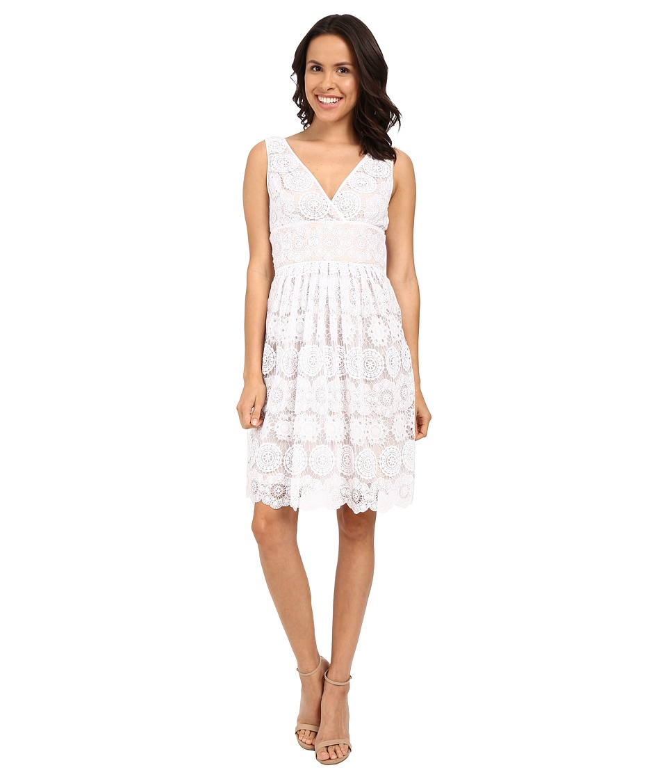 Adrianna Papell Deep V-Neck Fit Flare Medallion Lace Dress (White) Women