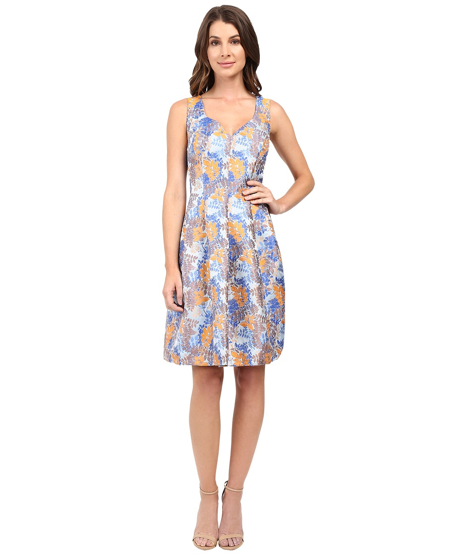 Adrianna Papell - Sweetheart Neck Release Pleat Dress (Blue/Orange) Women's Dress