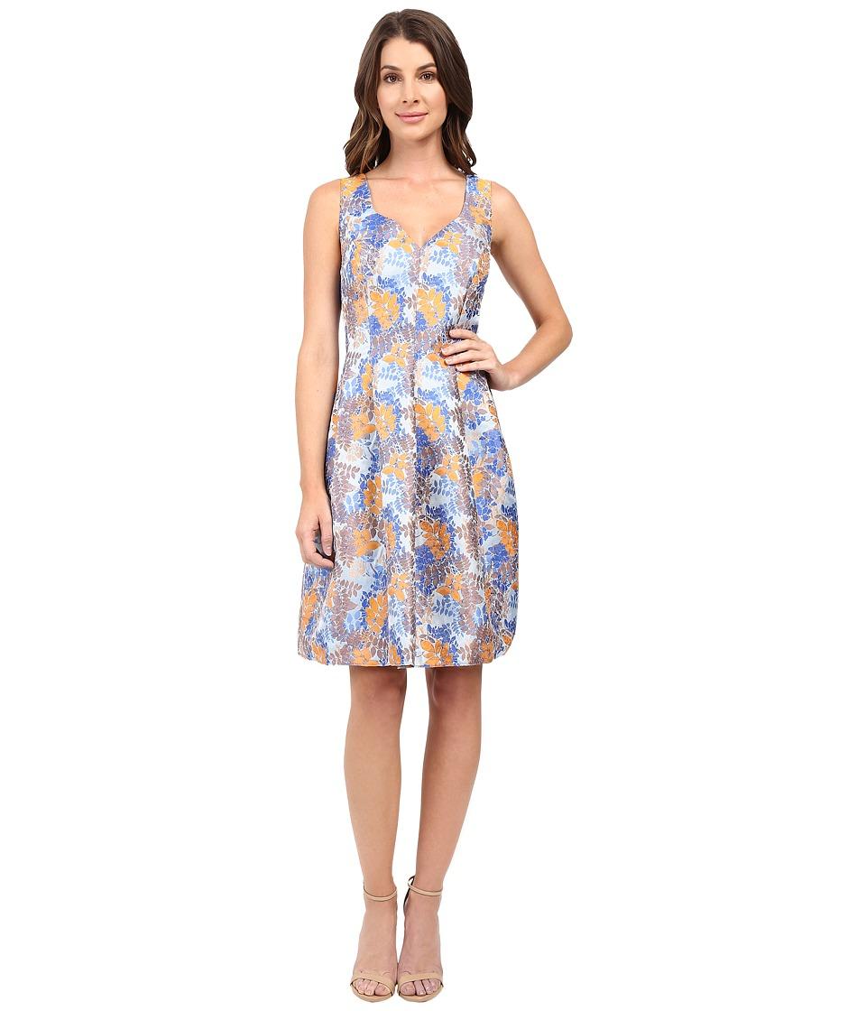 Adrianna Papell - Sweetheart Neck Release Pleat Dress (Blue/Orange) Women's Dress