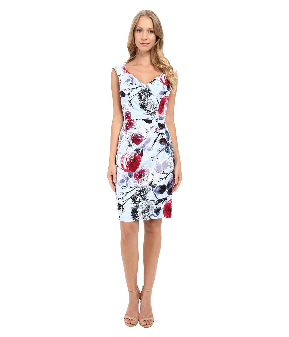 Adrianna Papell - Portrait Neckline Dress w/ Side Drape (Blue/Multi) Women's Dress