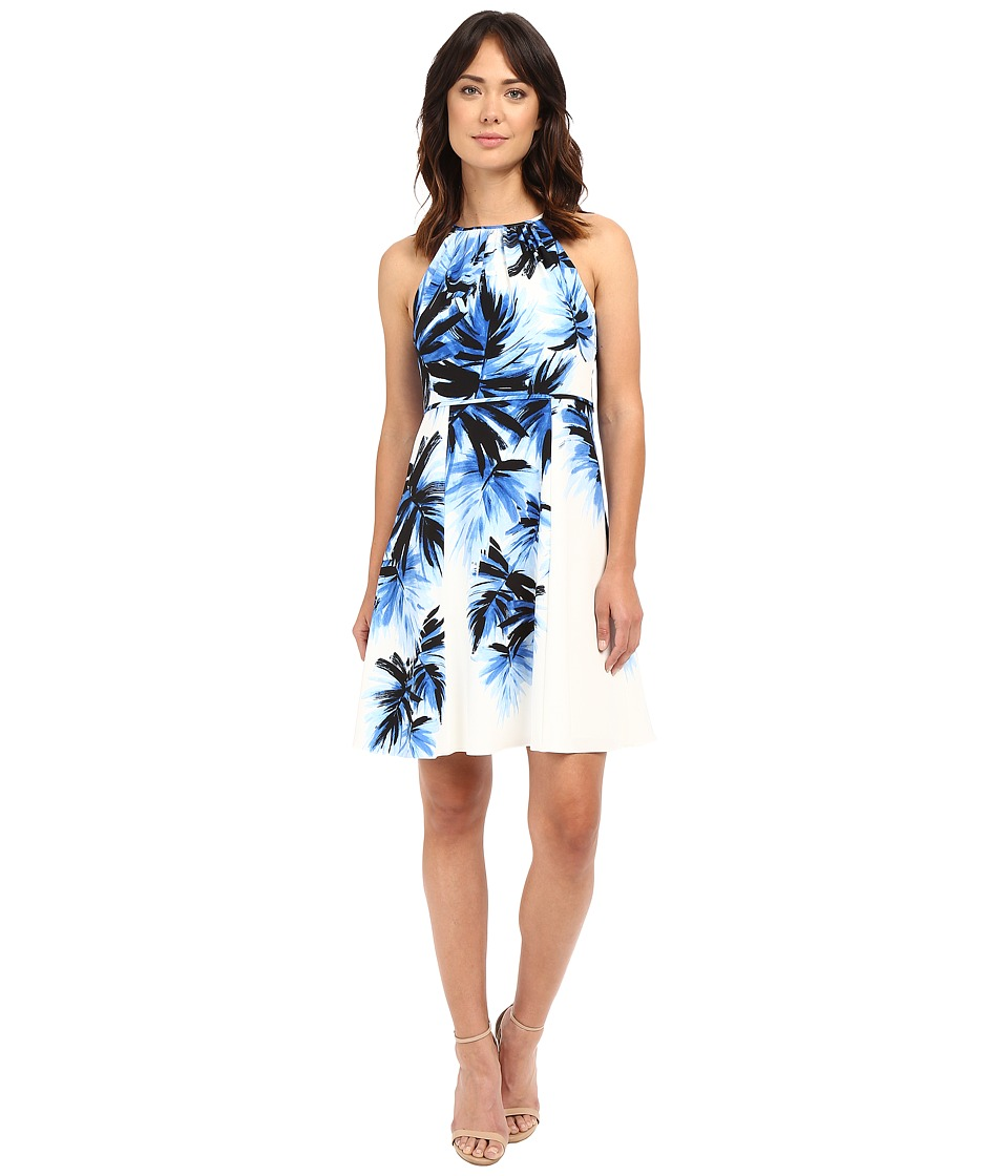 Adrianna Papell - Halter Neck Fit Flare Palm Print Dress (Blue/Multi) Women's Dress