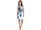 Adrianna Papell - Halter Neck Fit Flare Palm Print Dress