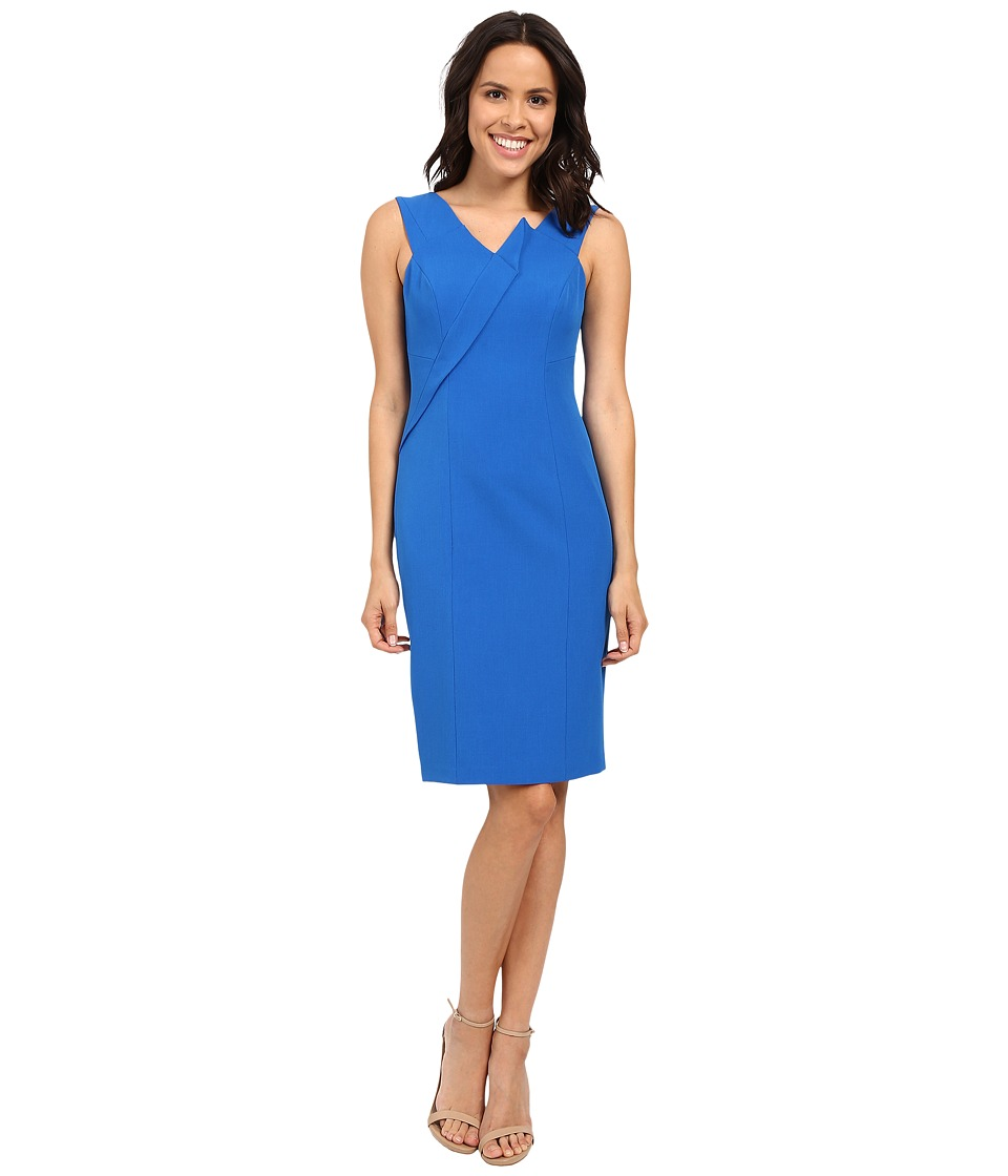 Adrianna Papell Asymmetrical Structured Drape Dress (Yves Blue) Women
