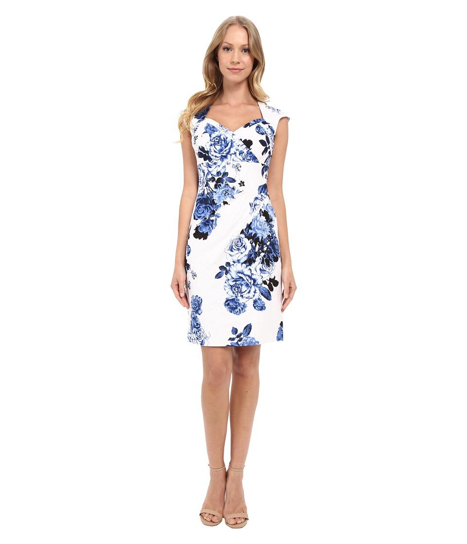 Adrianna Papell Bolero Top Dress w/ Side Pleat Detail (Blue/Multi) Women